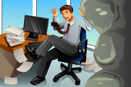 worried executive: A vector illustration of Businessman between rock and hard place concept Illustration