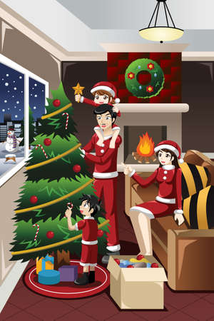 decorating christmas tree: A vector illustration of kids helping their parents decorating their Christmas tree together