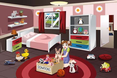 A vector illustration of little girl donating her old toys Ilustração