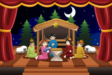 virgin girl: A vector illustration of kids playing in Christmas drama Illustration