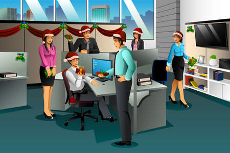 exchanging: A vector illustration of business people exchanging Christmas gift in the office