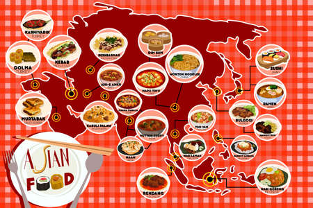 asian foods: A vector illustration of Asian food infography