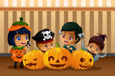 halloween kids: A vector illustration of little kids wearing Halloween costumes Illustration