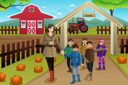 niño escuela: Una ilustración vectorial de profesor con los estudiantes en un viaje Pumpkin Patch en otoño o temporada de otoño