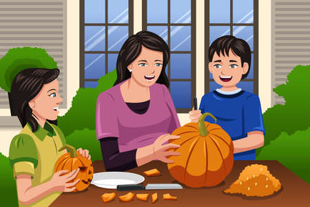 backyard: A vector illustration of Mother carving pumpkins together with her kids at backyard