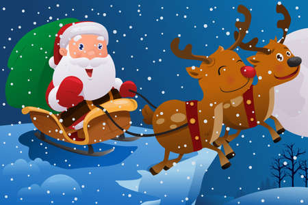 saint nick: A vector illustration of Santa Claus riding the sleigh pulled by reindeers in the middle of winter night Illustration