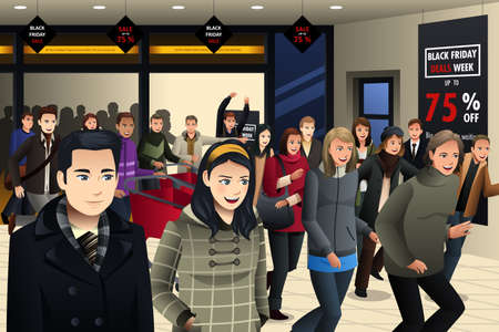 A vector illustration of people shopping on black friday in grocery