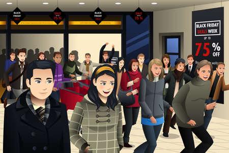 centro comercial: Una ilustración vectorial de compras de la gente en el viernes negro en la tienda de comestibles