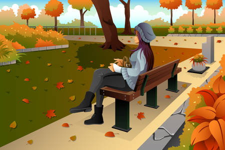 A vector illustration of stylish girl sitting on the bench in park Vectores