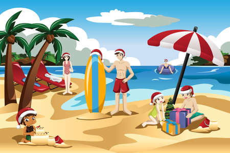 A vector illustration of family having fun together celebrating Christmas on the beach