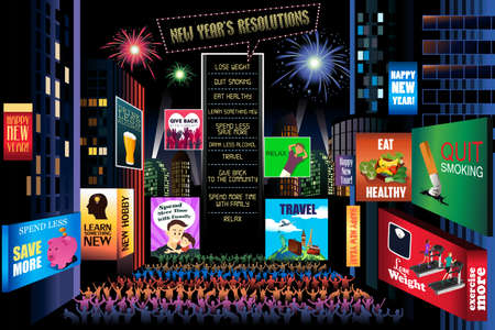 resolutions: A vector illustration of New Years Resolutions