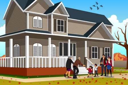 A vector illustration of family greets grandparents coming for Thanksgiving