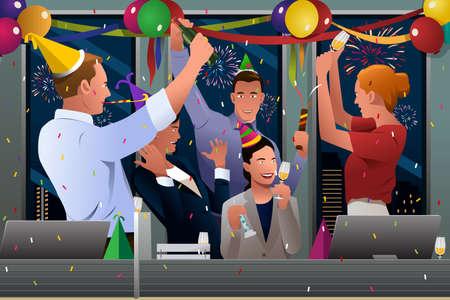 Een vector illustratie van de groep van mensen uit het bedrijfsleven vieren Nieuwjaar in het kantoor