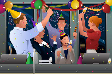 A vector illustration of group of business people celebrating New Year in the office