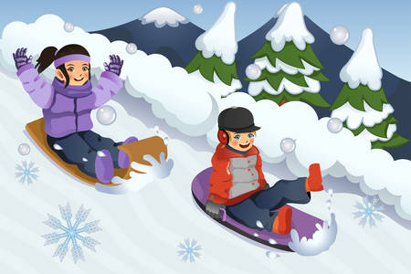 A vector illustration of children playing sledding in the snow