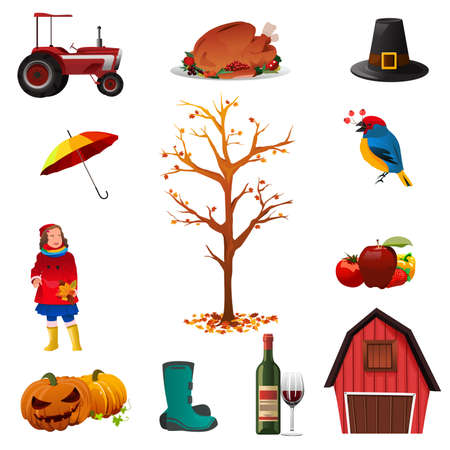 barn boots: A vector illustration of Fall or Autumn icon sets