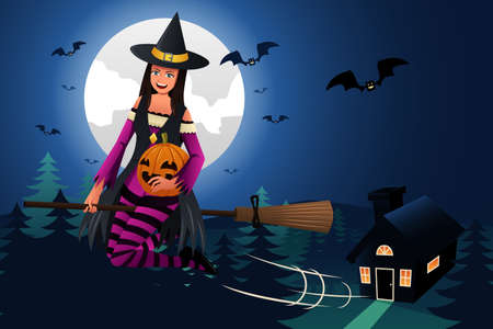 magical: A vector illustration of witch flying in front of the full moon with magical broom Illustration