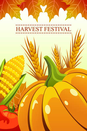 A vector illustration of harvest festival background Illustration