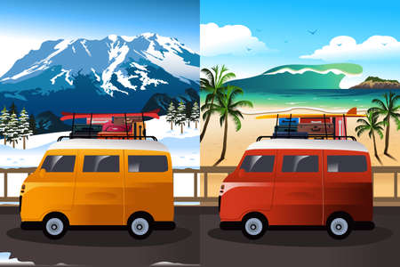 A vector illustration of travel in van for two season
