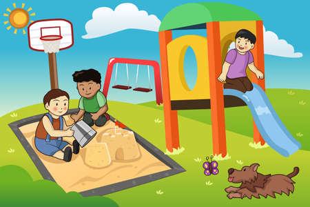 A vector illustration of happy kids playing in the playground