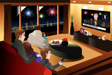 modern living room: A vector illustration of family spending time together on New Year Eve