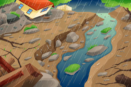 A vector illustration of monsoon rain resulting in flood an mudslide Ilustração