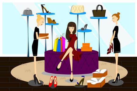 Een vector illustratie van vrouwen winkelen voor schoenen in een schoenen winkel Stock Illustratie