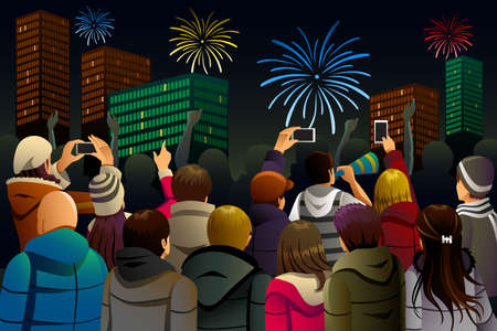 people celebrating: A vector illustration of group of young people celebrating New Year