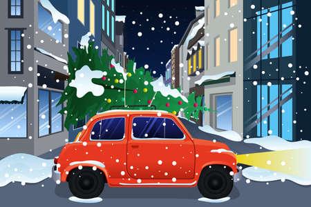 christmas tree illustration: A vector illustration of car carrying Christmas tree Illustration