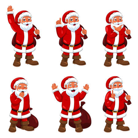 drawing: A vector illustration of Santa Claus in different expressions Illustration