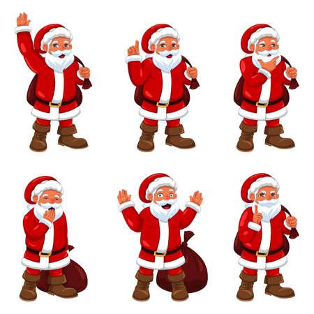 santa claus: Una ilustraci�n vectorial de Santa Claus en diferentes expresiones