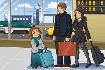 airport cartoon: A vector illustration of family going to vacation in airport