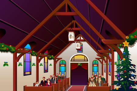 family praying: Una ilustración vectorial de la gente que celebra la víspera de Navidad en la iglesia
