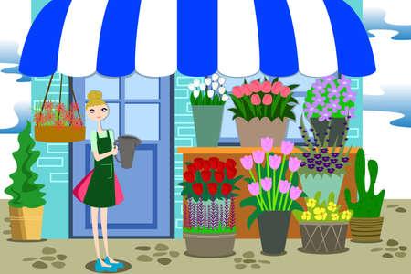美しい花屋フラワー ショップで別の花の束が付いて作業のベクトル イラスト