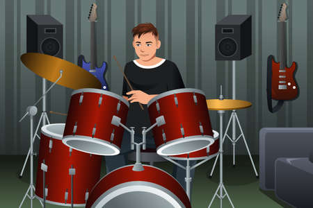 A vector illustration of man playing drum in studio