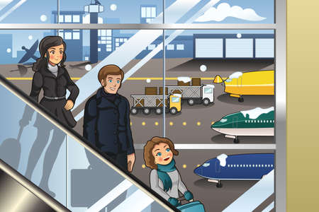 airplane cartoon: A vector illustration of family going to vacation in airport