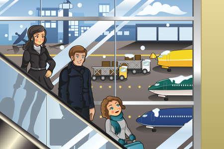 avion caricatura: Una ilustraci�n vectorial de la familia va a las vacaciones en el aeropuerto