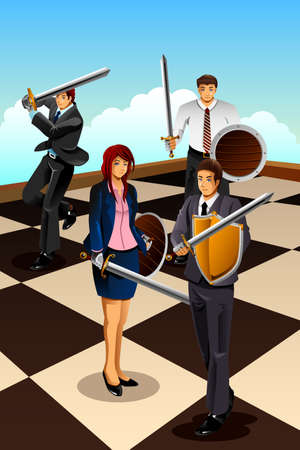 girl fight: A vector illustration of business people fighting as  knight for strategy concept Illustration