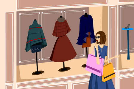 buying: A vector illustration of stylist girl with shopping bags