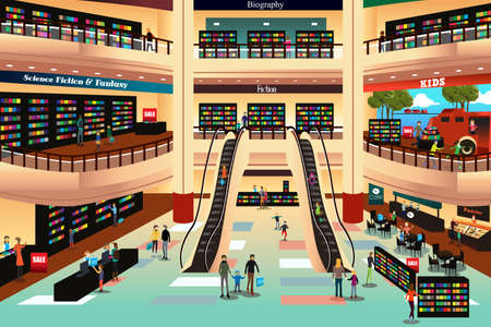 book store: A vector illustration of people in a book store Vectores