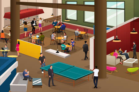 A vector illustration of modern office scene