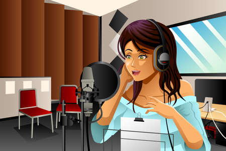 A vector illustration of a female singer singing in a recording studio