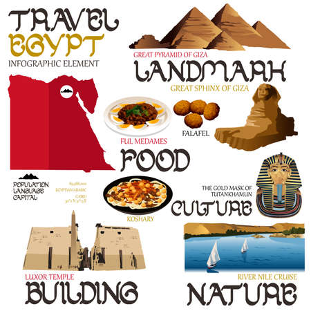 A vector illustration of infographic elements for traveling to Egypt