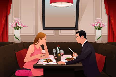 환상적인 레스토랑에서 발렌타인 데이 저녁 식사를하려고하는 커플의 벡터 일러스트 레이 션