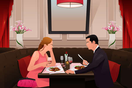 A vector illustration of couple going to valentine dinner in a fancy restaurant Иллюстрация