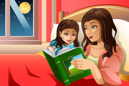 bedtime story: A vector illustration of mother telling a bedtime story to her daughter