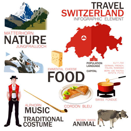 alphorn: A vector illustration of infographic elements for traveling to Switzerland