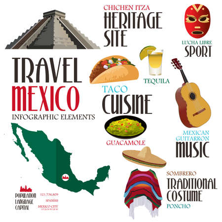 chichen: A vector illustration of infographic elements for traveling to Mexico