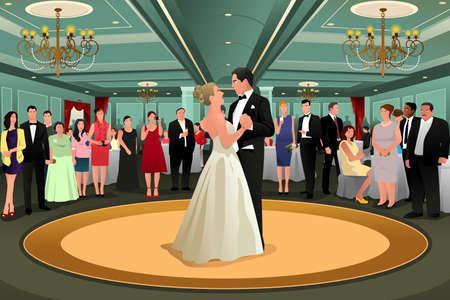 結婚式のパーティーで彼らの最初のダンスを踊る新郎新婦のベクトル イラスト