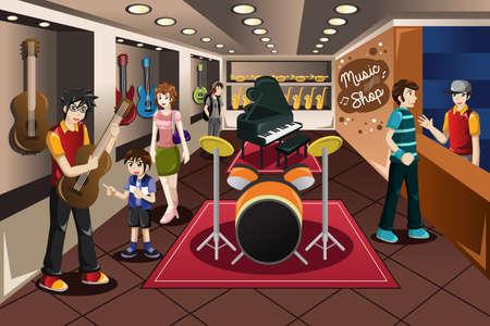 vendedor: Una ilustración vectorial de los padres con su hijo la compra de instrumentos musicales en una tienda de música